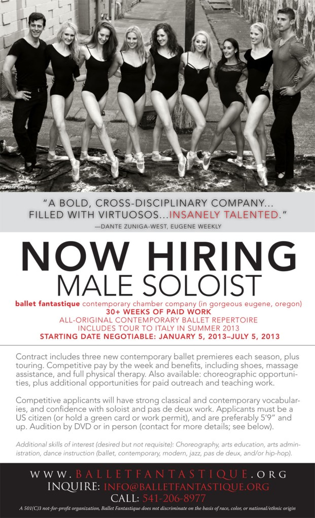 ballet fantastique male dancer audition flyer